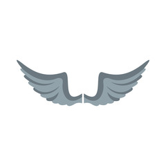 Gray wing flat icon for your design labels wing graphic and illustration vector object