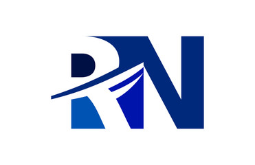 RN Negative Space Square Swoosh Letter Logo