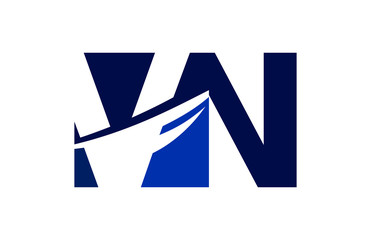 VN Negative Space Square Swoosh Letter Logo