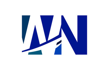 WN Negative Space Square Swoosh Letter Logo