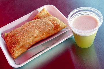 pastry and cane juice