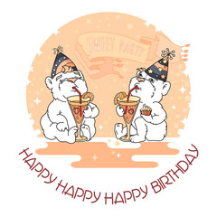 Happy Birthday card with two cute bears in party hats.