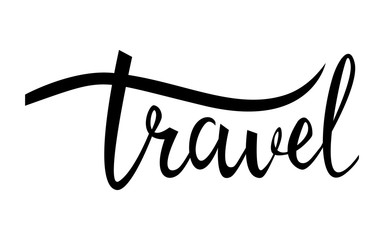 travel card. Hand drawn modern calligraphy. Ink illustration. Positive quote about travel and adventure. Hand drawn lettering card or poster. Isolated on white background.