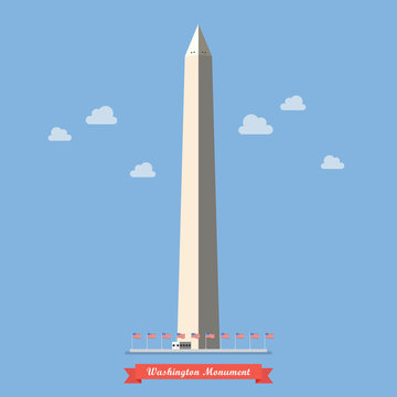 Washington monument in flat style