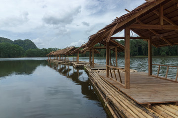 Bamboo rafts on the surface, the concept for tourism in nature.
