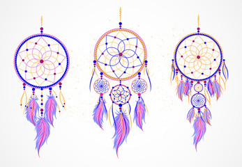 Vector set of decorative dreamcatchers with feathers.