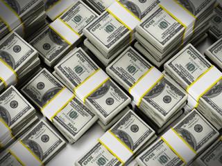 100 Dollar lots stack background. 3D illustration