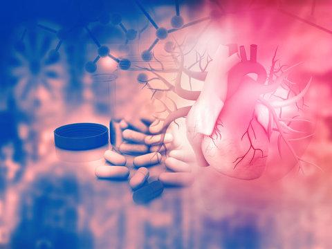 Human heart and modem medicines. 3d illustration..