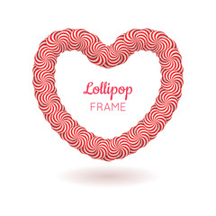 Lollipop red heart frame. Great gift for special occasions and interior design. Realistic mockup vector illustration on white background