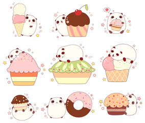 Set of cute pandas with ice cream and cupcakes