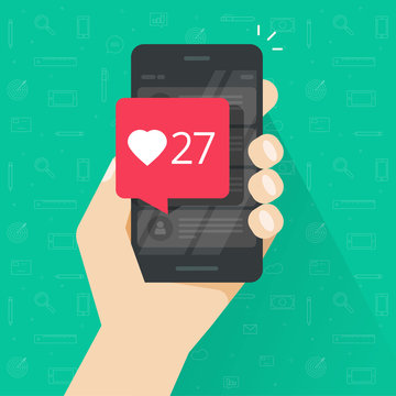 Smartphone with likes counter bubble vector illustration, flat carton style cellphone with social media like button notification, idea of mobile phone followers, getting positive review, comment