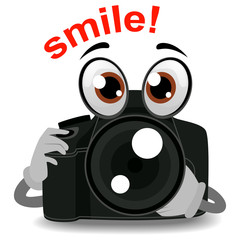 Vector Illustration of Camera Mascot holding Lens