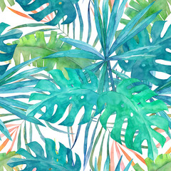 Summer seamless pattern with watercolor  palm leaves on white  background.Tropical hand drawn illustration