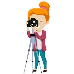 Vector Illustration of Girl Looking through a Digital Camera on Tripod