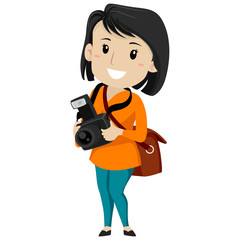 Vector Illustration of a Female Photographer Holding a Digital Camera