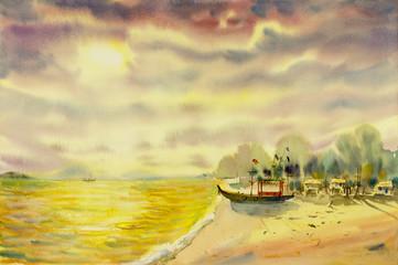 Watercolor landscape original painting colorful of  seascape