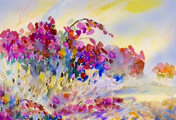 Abstract watercolor original painting on paper colorful of  flowers.