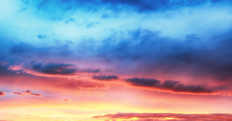 Wall Mural - Only sky, dramatic sunset with colorful clouds