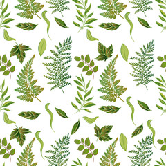 Vector forest grassy seamless pattern