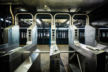 Underground Subway Gates in New York City on line tree.