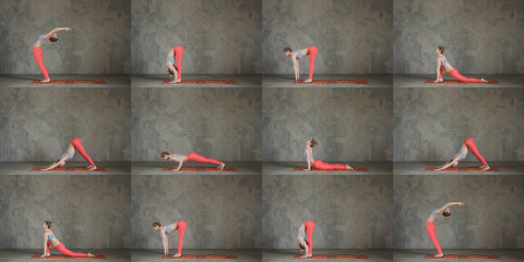 Sun salutation / surya namaskar set against texturized wall / urban background