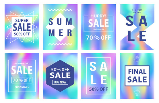 Sale banners template set. Holographic neon background