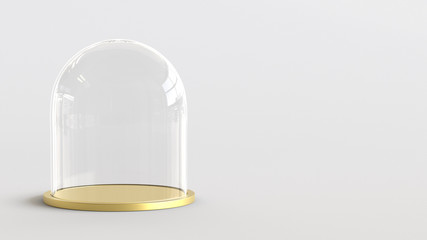Glass dome with golden tray on white background. 3D rendering.