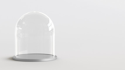 Glass dome with silver tray on white background. 3D rendering.