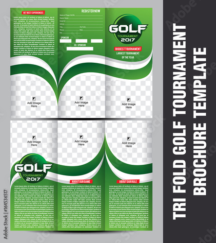 tri fold golf tournament brochure template stock image and royalty