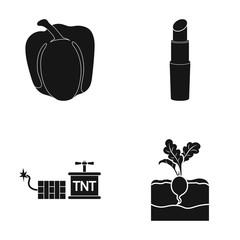 Pepper, radish and other web icon in black style. lipstick, explosives icons in set collection.