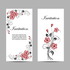Set of vertical banners with flowers