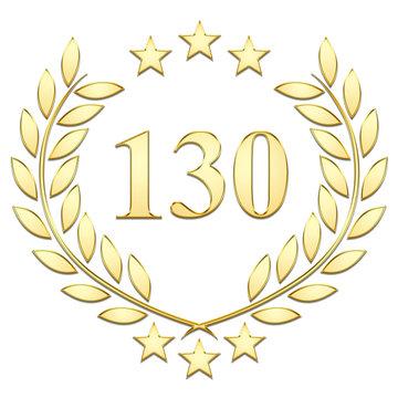 Lauriers 3 étoiles, 130, gold sur fond blanc