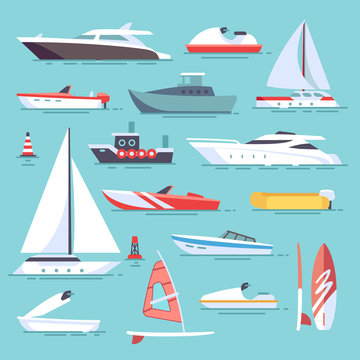 Sea boats and little fishing ships. Sailboats flat vector icons