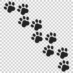 Paw print vector icon. Dog or cat pawprint illustration. Animal silhouette.