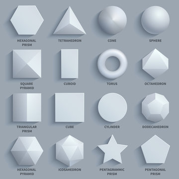 Top view realistic white math basic 3d shapes vector set. Three dimensional geometric figures