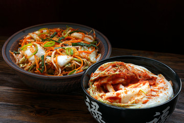 Traditional Korean kimchi appetizer. The concept of healthy fermented food.