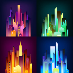 Night City  Illuminated 4 Icons Poster