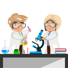 Man and woman chemist with test tubes and flasks.