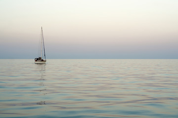 Sea horizon evening boat
