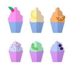 Cupcakes set flat icon, vector sign, colorful pictogram isolated on white. Dessert symbol, logo illustration. Flat style design
