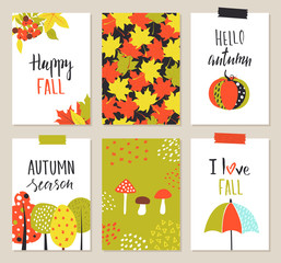 Set of artistic creative autumn cards. Hand Drawn elements. Design for poster, card, invitation, placard, brochure, flyer. Vector templates