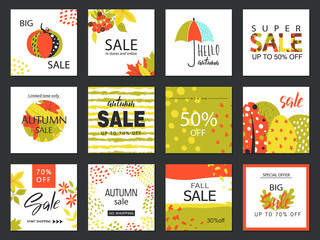 Set of artistic creative autumn sale cards. Hand Drawn style . Design for sale and special offer. Vector templates for poster, card, tag, placard, brochure, flyer, web