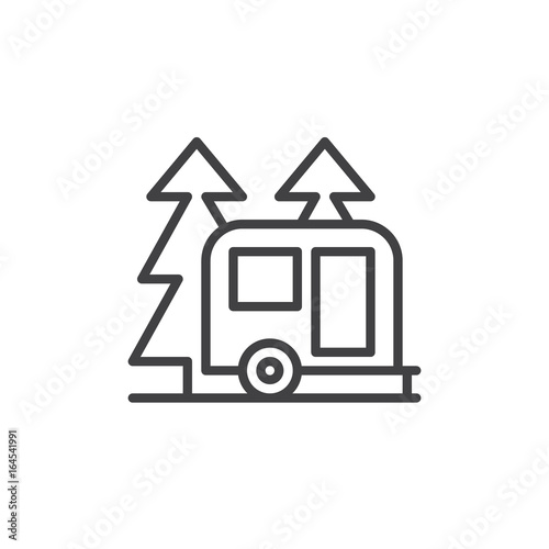 Travel Camper Trailer In Forest Line Icon Outline Vector Sign Linear Style Pictogram Isolated