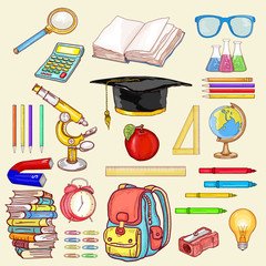 Education elements vector. Education objects back to school collection hand drawn elements