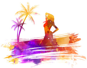 Summer watercolored background