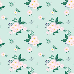 Seamless floral pattern. Background in small pink flowers on a turquoise background for textiles, fabric, cotton fabric, covers, wallpaper, print, gift wrapping, postcard, scrapbooking.