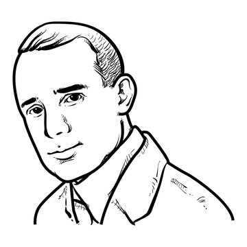Napoleon Hill Vector illustration, Napoleon Hill Drawing outline, Author, Journalist,