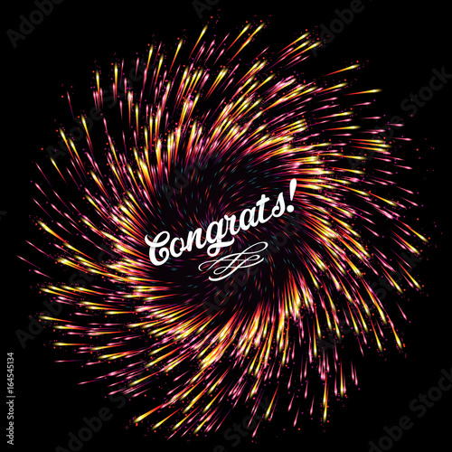 the flash of abstract fireworks on a dark background bright