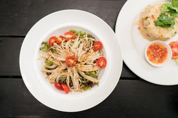 Top view food : Golden Mushroom Vegetables salad.