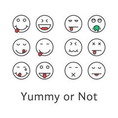 thin line yummy emoji icons
